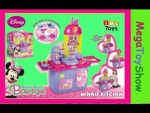 minnie - Unboxing Minnie mouse bowtique kitchen playset. Minnie Mouse kitchen playset toy. Minnie mouse full english episode on How to assemble minnie's kitchen plays...