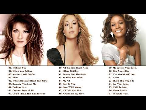 Mariah Carey, Celine Dion, Whitney Houston Greatest Hits playlist - Best Songs of World Divas NO ADS