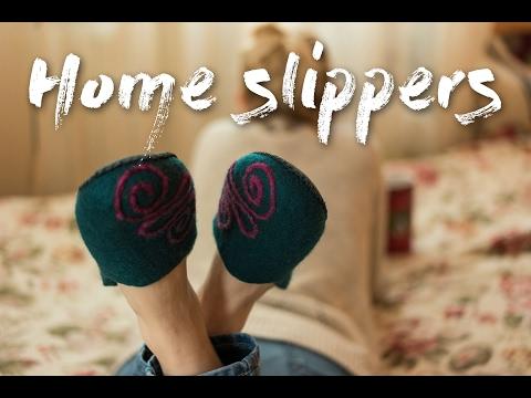 Womens wool shoes handmade felted house slippers. Wolle Damen Filz-Hausschuhe Pantoffeln filzschuhe