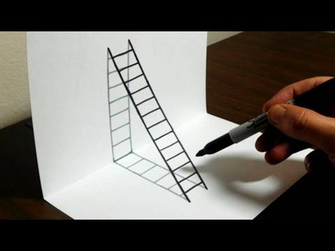 How to Draw a 3D Ladder - 3D Drawings tutorial