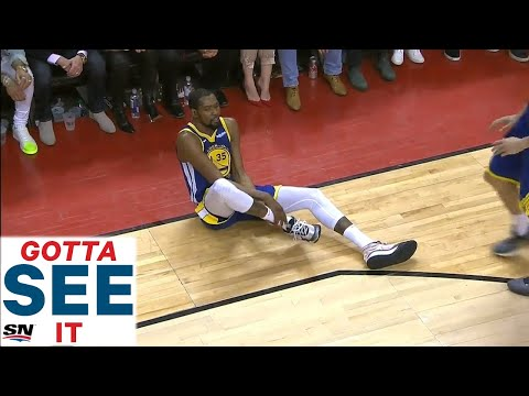 GOTTA SEE IT: Kevin Durant Helped Off Floor After Apparent Leg Injury
