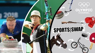 Can an Olympic silver medallist archer hit the target on an ice sheet? What happens when a curling champion tries to shoot an arrow?Check out the Sports Swap series where Olympians try each others sport: https://www.olympicchannel.com/en/playback/sports-swap/Subscribe to the Olympic Channel here: http://bit.ly/1dn6AV5