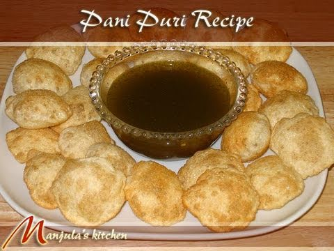 Spicy Indian Food - View full recipe at http://www.manjulaskitchen.com/2008/06/01/pani-puri/ Makes about 60 puris. Ingredients Pani (Spicy Water): 1 cup mint leaves (Pudina) 2 t...