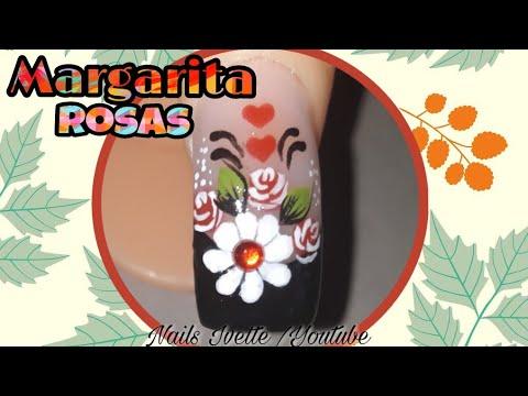 Uñas decoradas - Decoración de uñas Margarita y rosas