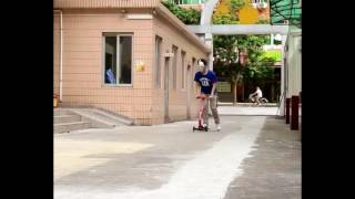fascol surfing baby scooter car crashing test and anti-collision wall test