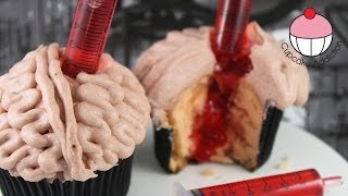 Make Bleeding Brain Cupcakes for Halloween - A Cupcake Addiction How To Tutorial
