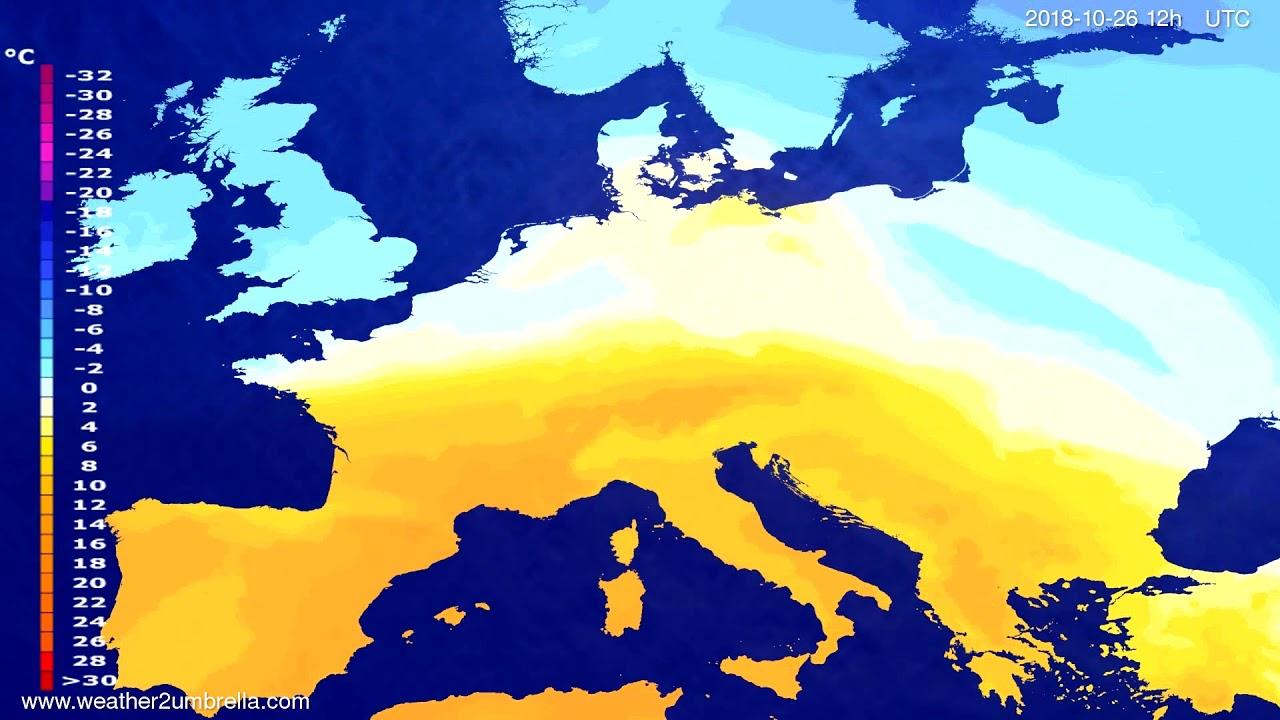 Temperature forecast Europe 2018-10-24