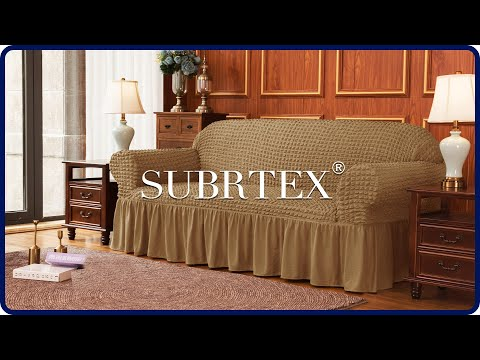 How to install Stretch Sofa Cover Skirt Style Couch Slipcover by Subrtex