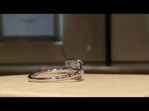1.00 Carat Cushion Moissanite Forever One Halo Style Ring (Charles & Colvard)
