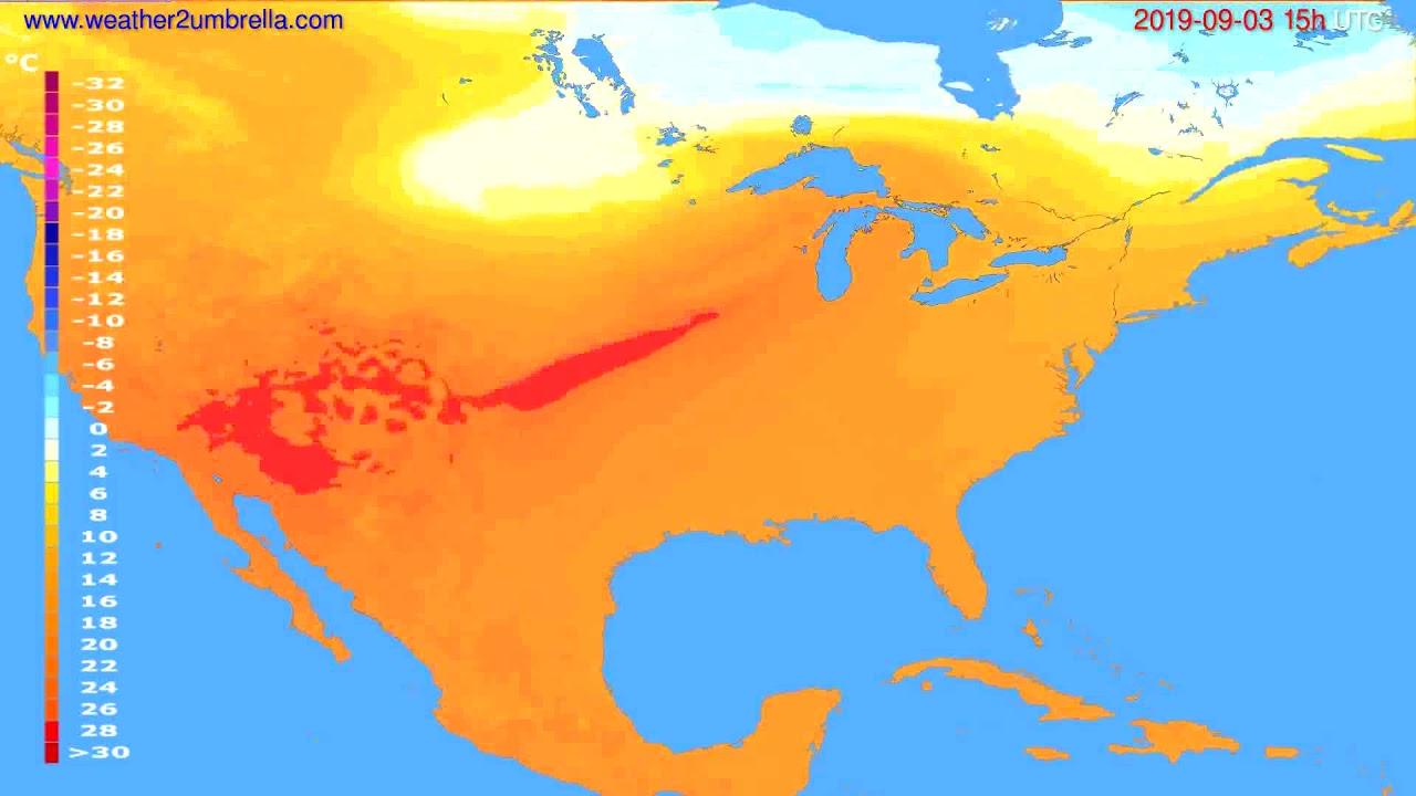 Temperature forecast USA & Canada // modelrun: 12h UTC 2019-08-31