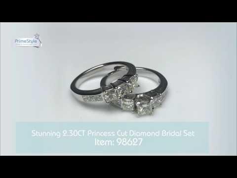 Stunning 2.30CT Princess Cut Diamond Bridal Set