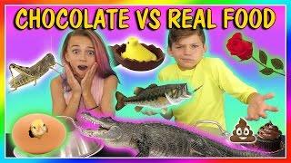 Video CHOCOLATE VS REAL FOOD CHALLENGE | We Are The Davises MP3, 3GP, MP4, WEBM, AVI, FLV September 2018