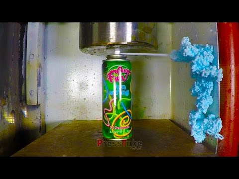 Hydraulic Press Vs Silly String Crushing a Can of Silly String with a Hydraulic