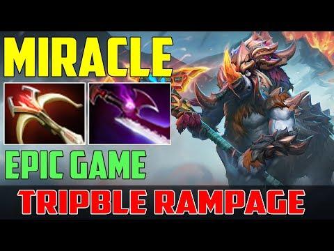 Miracle Magnus | Epic Game Tripble Rampage + 407 LH | Dota 2 Gameplay 2017