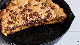 Nutella Stuffed Chocolate Chip Skillet Cookie