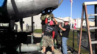 Planes of Fame Air Museum Piccadilly Lilly II B-17 Chin Turret Install Part 1 Time Lapse
