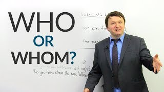 "When do we use ""who"", and when do we use ""whom""? In this English grammar lesson, I will explain the difference between these two relative pronouns and when you should use them. It doesn't matter if you're a new English learner or a native English speaker – if you're not sure whether to use ""who"" or ""whom"", I hope that this lesson will erase your doubts. It's much easier than you think.Test your understanding with the quiz:  https://www.engvid.com/who-or-whom/TRANSCRIPTHey, everyone. I'm Alex. Thanks for clicking, and welcome to this lesson on ""Who"" vs. ""Whom"". That's right, today we are going to look at one of the most commonly confused and asked about subjects in the English language, not just by new English learners but native speakers as well. So, we're going to use some grammar terminology, but I'm also going to give you some examples that will make it very clear what the difference between these two words is. So, first I'm going to talk about how to use them in statements, and after I'm going to show you how to use them with quantifiers, and at the end I'll look at some question examples with these two. So, let's start.First: ""who"" and ""whom"". These are relative pronouns. Now, what this means is ""who"" is a subject relative pronoun, ""whom"" is an object relative pronoun. What does this mean? Well, this means that when you use ""who"" in a sentence to give more information about something, you are using it to give more information about a subject. When you use ""whom"", you're using it to give more information about the object of a sentence. So let's look at some examples first with ""who"".Number one: ""I have an uncle who works for Apple."" Number two: ""There's someone who is waiting for you."" Number three: ""Tom, who's been working here forever, recently found a new job."" What do they all have in common? Well, they all have a subject, a person who you're giving more information about. So, I'm going to mark things up a little bit so you can see how this works. ""I have an uncle who works for Apple."" Who are you giving more information about in this sentence? You are giving more information about your uncle. So you have ""who"", and ""who"" relates to an uncle. Now, this uncle is doing an action. The uncle works for Apple. So, if you have a subject, you're giving more information about the subject, and the subject is doing an action after who, then you use ""who"". All right? ""I have an uncle who works"", he works for Apple. Next: ""There is someone who is waiting for you."" So we have ""who"". Who does ""who"" relate to? ""Who"" relates to ""someone"", a mystery person. So there's someone who is waiting for you. Yes, we are giving more information about someone, and the someone is doing an action. So here they are waiting. So I have someone... There is someone who is waiting. They are the ones who are doing the action. Next: ""Tom, who's been working here forever, recently found a new job."" So we have ""who"", I'm just going to mark ""who's"", ""who has"" been working. And yes, we are talking about Tom. And we are saying that Tom has been working here. So if the subject of the sentence is doing the action here, then you need to use ""who"".Next: ""whom"". Three sentences. One: ""Ghandi is someone whom most people admire."" Two: ""That's the guy whom she married."" Three: ""My best friend, whom I've known for 10 years, is getting married."" So, what's the difference between these sentences and the sentences with ""who""? Hmm. ""Ghandi is someone whom most people admire."" Yes, the sentence is about Ghandi. We are talking about Ghandi in this sentence. But also important: Is Ghandi doing an action in this sentence or is he receiving an action in this sentence? Here we have: ""Ghandi is someone whom most people admire."" The sentence is actually talking about the people who admire Ghandi. The people are doing an action to Ghandi, and Ghandi is receiving the action in this sentence. So, here, and this is true in most cases, after ""whom"" you usually have someone who does the action to someone else. So: ""Ghandi is someone whom most people admire.""Next: ""That's the guy whom she married."" We see ""whom"". Who does ""whom"" relate to? Yes, we are talking about the guy, but the guy is receiving the action. He's actually an object here, because she married him. Now, I don't mean that the man is an object and the woman is the... An object in many cases, so I don't mean any of that. But grammatically, that's the guy whom she married. The guy is receiving the action of marriage from her.And finally: ""My best friend, whom I have known for 10 years, is getting married."" Here we have ""whom"". Who are we talking about? Okay, my best friend, yeah. But my best friend is receiving an action here. I have known my best friend. Okay? So here, I'm saying I have known my best friend. I have known him or her. Okay?"