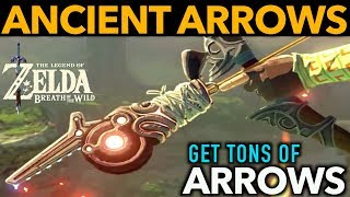 This video shows you how to easily get TONS of Ancient Arrows in Zelda Breath of the Wild which are the most powerful arrows in the game.  Ever wonder what those guardian parts could be used for? Well, Ancient Arrows are what we've seen Link fighting with countless times in the Nintendo trailers for botw and we use those parts to make these overpowered arrows. You will learn where to go to get the arrows and also how to farm a TON of Guardian parts in Hyrule that are required in order to make them.  Video INCLUDES Robbie's research task briefly and shows the path to navigate.We go over how to beat a Guardian with my own personal special technique that allows you to obtain a higher monster part yield from them to get more parts per kill. We will collect ancient gears, ancient scews, ancient cores, Giant ancient cores, ancient shafts and much more. I will show you possibly the easiest location to get guardian parts which are needed to make Ancient Arrows. This is not a arrow farming video and I believe this may be the closest to Ancient arrow farming as we will ever get.The guardians we farm to obtain the monster parts are: •Guardian Stalkers•Guardian Skywatchers•Decayed Guardians____________________________________________________________________PLEASE CHECK OUT SOME OF MY OTHER COOL VIDEOS! $2300 ELIXIR - LYNEL ELIXIRhttps://youtu.be/v4_5Q1We3n0HOW TO MAKE MONEY FAST - https://youtu.be/_71dOI6S7JYULTIMATE DRAGON FARMING -180 HORNS PR/HR OR 54,000 RUPEEShttps://youtu.be/jWObQPugpf4INFINITE STAR FRAGMENTShttps://youtu.be/cVfWZwunjCQ30 MIN. DURATION ELIXIR AND FOOD RECIPES:https://www.youtube.com/watch?v=Dqxs0IfEWnI____________________________________________________________________Gear Used to Make this Video:1) El Gato HD60 Game Capture Card - http://amzn.to/2sol0qB2) iMac 27 Inch Retina 5K - http://amzn.to/2rLf5up3) Blue Snowball - http://amzn.to/2s7glIVDISCLAIMER: This video and description has amazon affiliate links and this means that if you click on one of the p