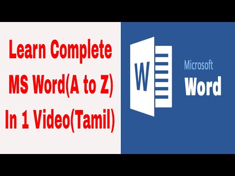 Learn MS Word in 1 Video   Microsoft word in tamil