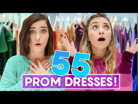 We Tried On 55 PROM DRESSES!