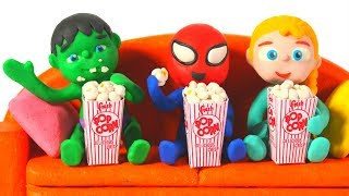 SUPERHERO BABIES HAVE A MOVIE & POPCORN DAY • Superhero Babies Play Doh Cartoons For Kids