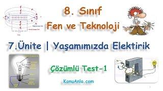8. Sınıf  Fen ve Teknoloji  7. Ünite  Yaşamımızda Elektrik  Çözümlü Test-1(Beğeni, paylaşım, yorum ve reklam tıklamalarınızla kanalımıza destek olabilirsiniz.)