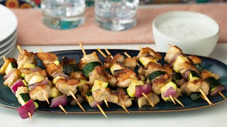 Chicken Kebabs With Yoghurt Sauce • Proper Tasty by Tasty