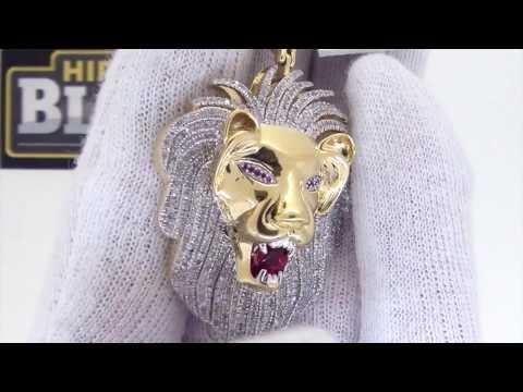 3D Lion Head Diamond Hip Hop Pendant   .925 Silver   1.60 Carats