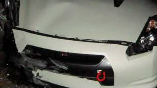New GTR R35 crashes following an Evo IX MR