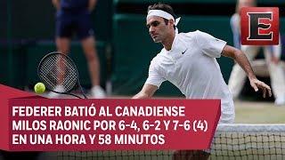 En su partido número 100 en Wimbledon, el suizo Roger Federer batió al canadiense Milos Raonic por 6-4, 6-2 y 7-6 (4) en una...