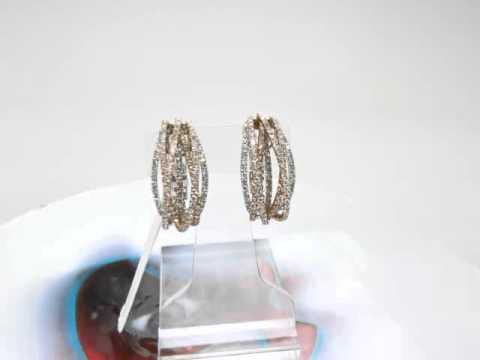 Ladies Women Diamond 18k Two Tone Gold Round Cut G Color Hoop Earring 2.98ct