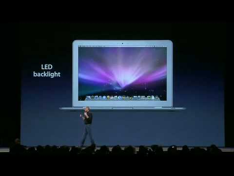 macbook air - Here we see Steve Jobs introducing the MacBook Air ultra-portable laptop.