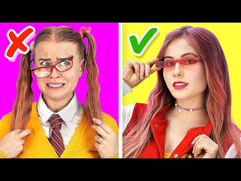 HOW TO BECOME POPULAR || Nerd VS Popular Students Funny School Life and Hacks by 123 GO! SCHOOL