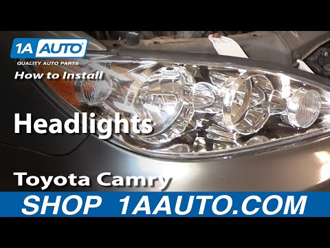 how to install replace headlights toyota camry 02 06 the how to. Black Bedroom Furniture Sets. Home Design Ideas