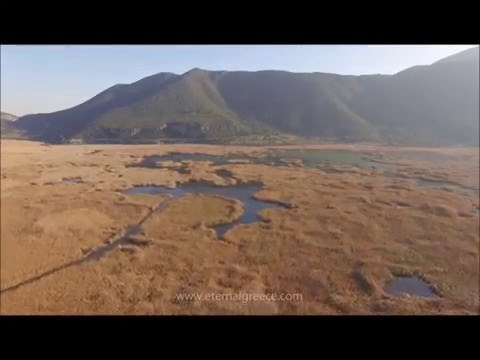 Drone footage (second clip) of ancient Stymphalos, Peloponnese, Greece in HD 1080