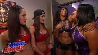 The Bella Twins run into Aksana&Alicia Fox before their match: WWE Main Event, Jan. 22, 2014