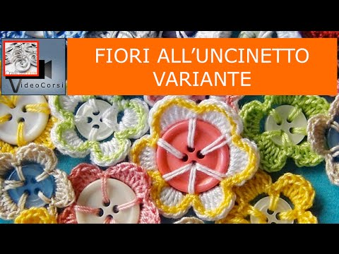 fiori all'uncinetto con bottoni usati