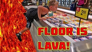 "The most crazy The Floor is Lava CHALLENGE ever in public!! Comment down below some more places we should play ""THE ..."
