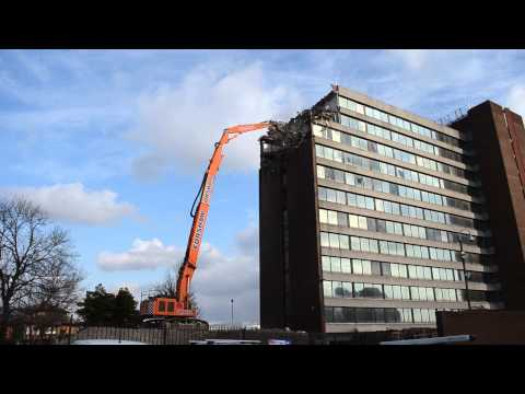 High reach demolition in Manchester, UK, part 1.
