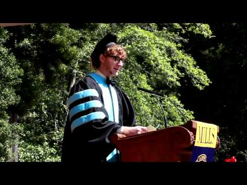 college - Steven Drouin, Mills Class of 2013 graduate student speaker, addresses the Mills College community at Commencement.