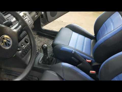 """Чехлы на Volkswagen Polo III, 3D серии """"Premium"""" - синяя строчка"""