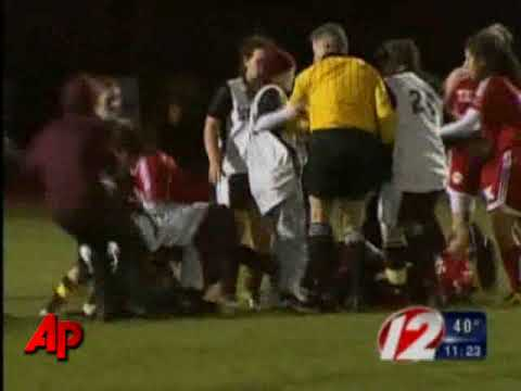 ri soccer_fight - A fight breaks out among players at a high school game in Providence, R.I. that soon spread to fans in the stands. It happened during high school soccer stat...