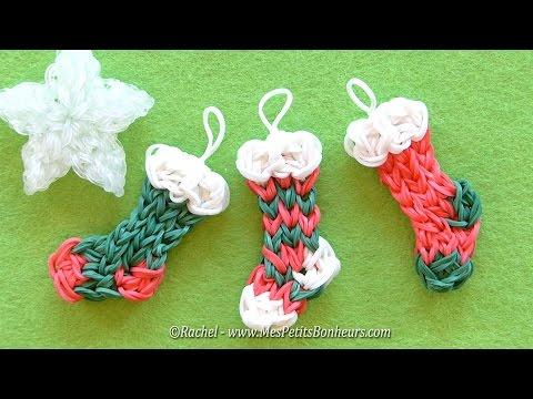 Tuto Chaussettes de Noël Rainbow Loom – Déco du sapin en élastiques