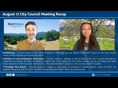 Aug 17 2021 San Jose City Council Meeting Recap