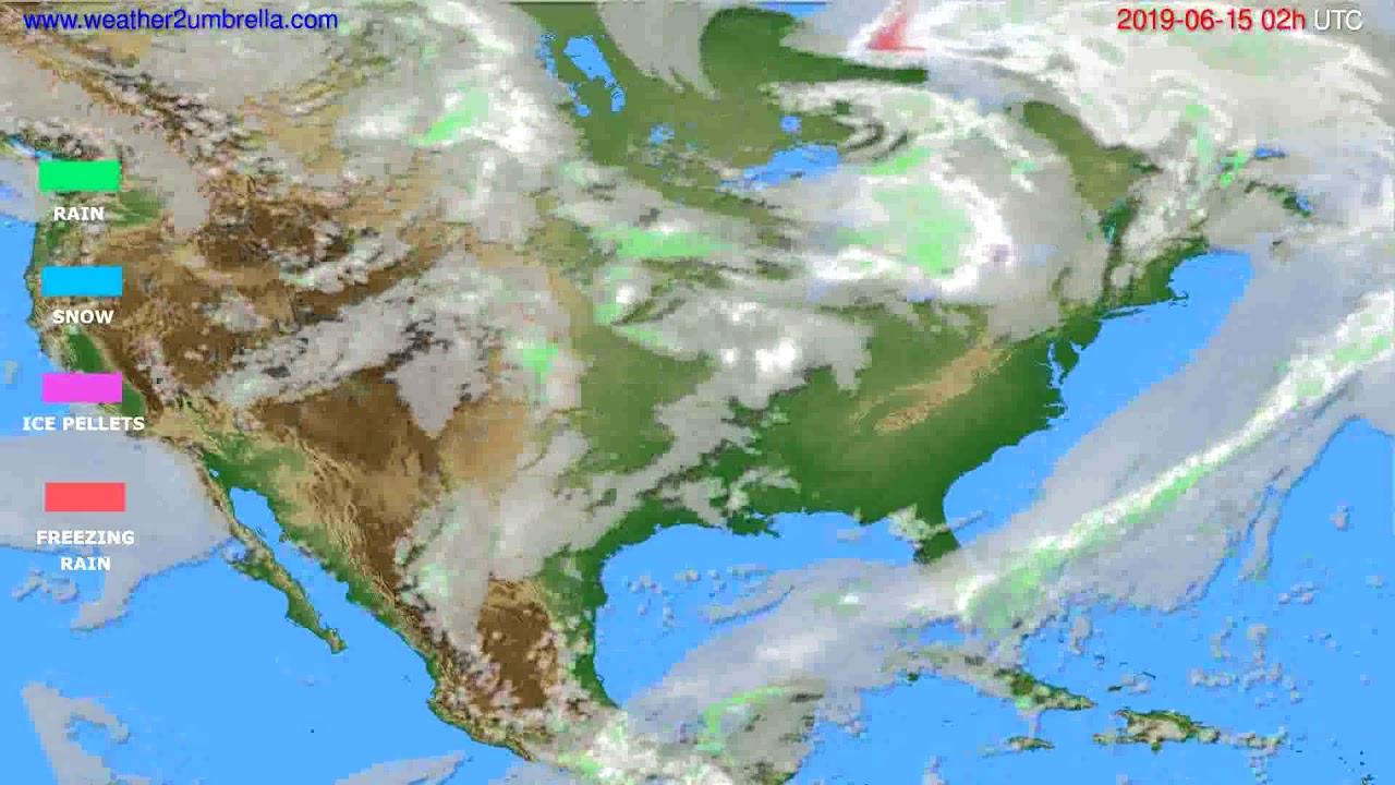 Precipitation forecast USA & Canada // modelrun: 00h UTC 2019-06-13