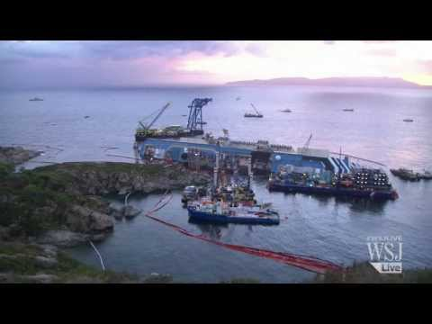 cruise ship capsized - A complex system of pulleys and counterweights on Monday gently began lifting up the Costa Concordia cruise ship from its side on a Tuscan reef where it caps...