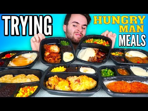 TRYING HUNGRY-MAN FROZEN MEALS! - Fried Chicken Meal, Turkey Dinner, & MORE Taste Test!