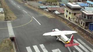 Watch four flights doing a quick take off from Lukla Airport 16MAR09. The runway is very short. Lukla is the airport for climbing...