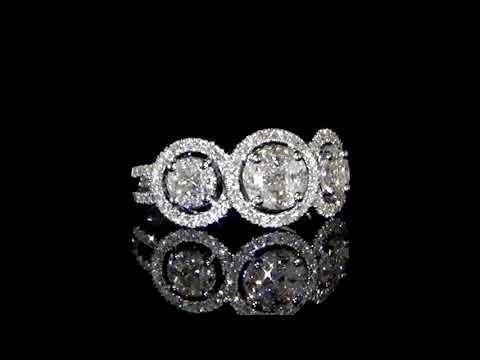 Lady's 14k White Gold 1.31ct (TDW) Cluster Diamond Ring