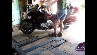 9. Checking the oil on the Gold Wing